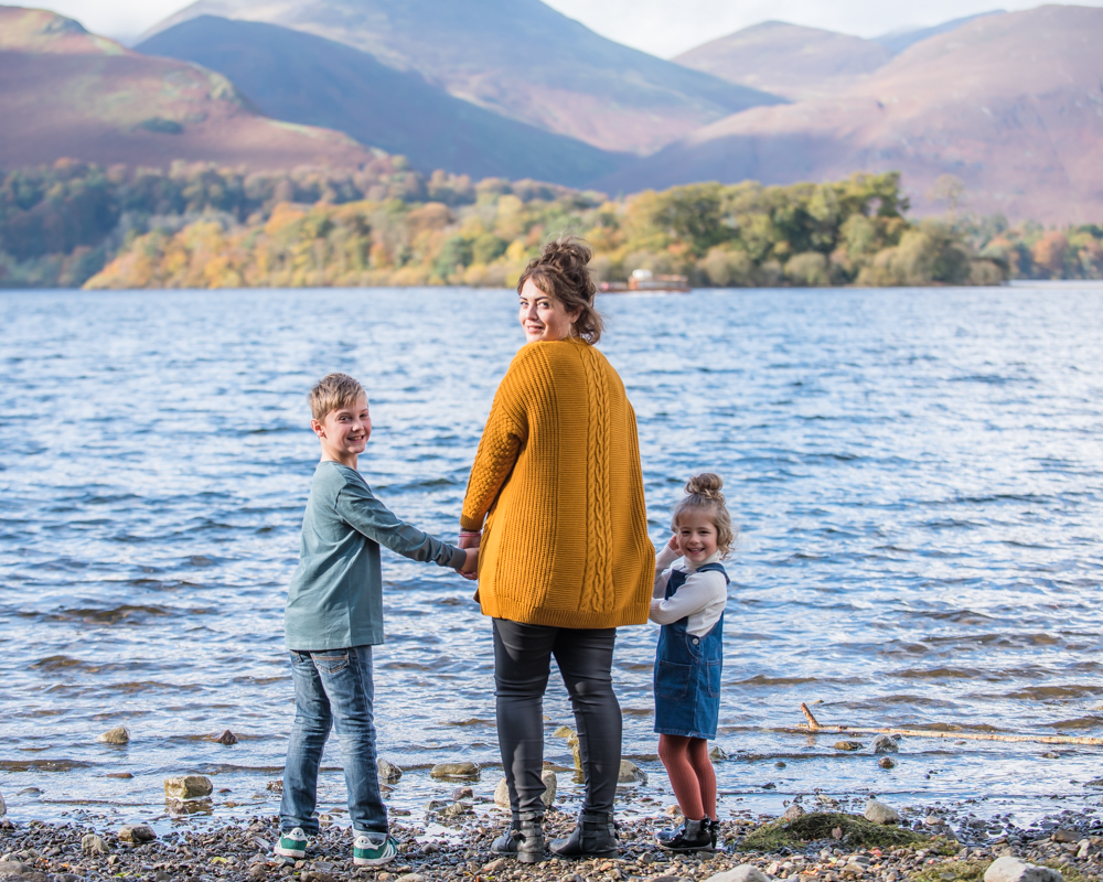 Holding hands by the lake, Lake District family photographers
