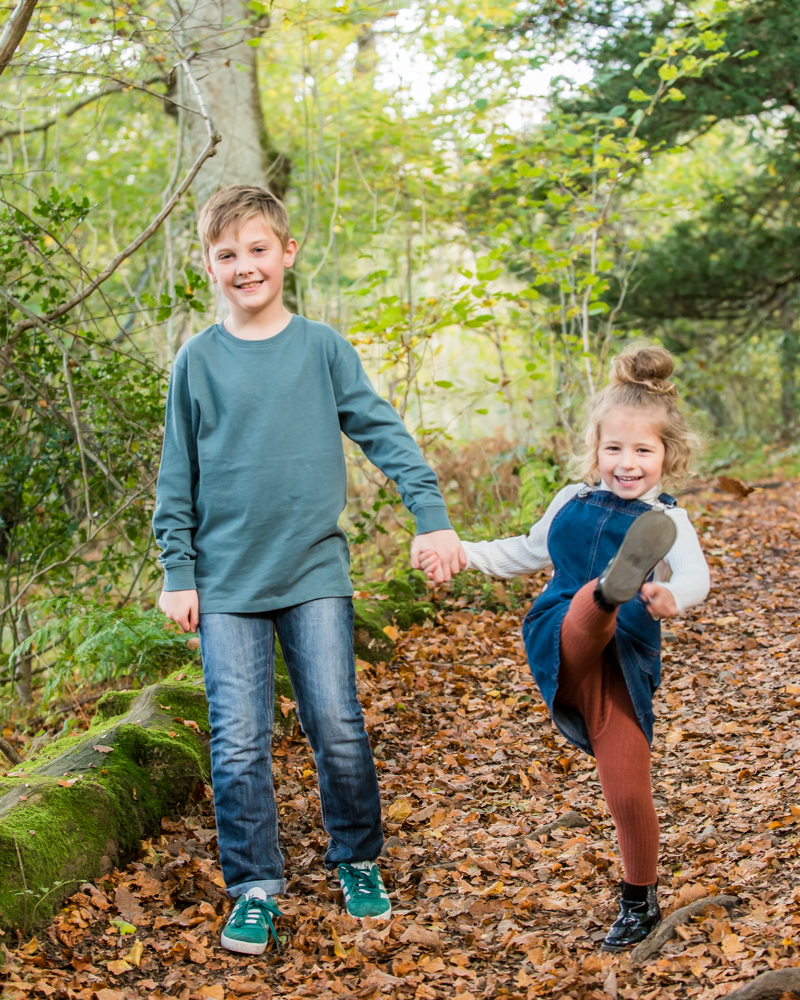 Kicking leaves, Lake District family photographers