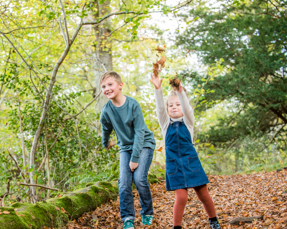 Leaf fight, Lake District family photographers