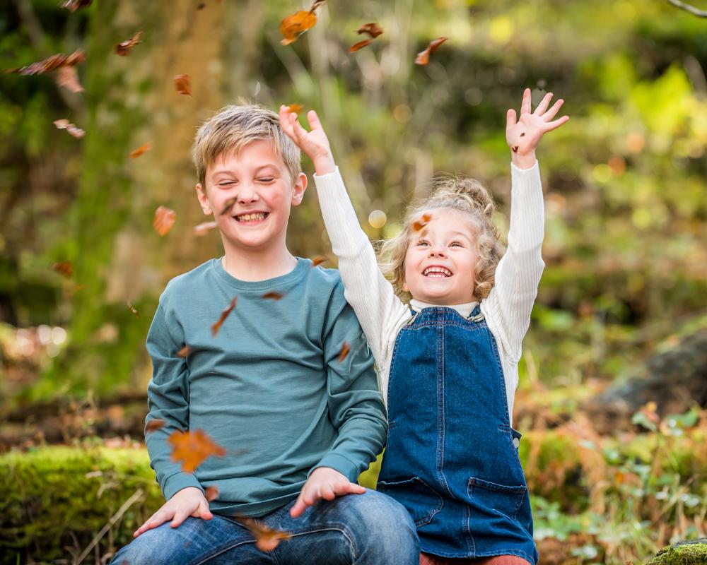 Leaf throwing, Carlisle family photographer, Lake District family photographers