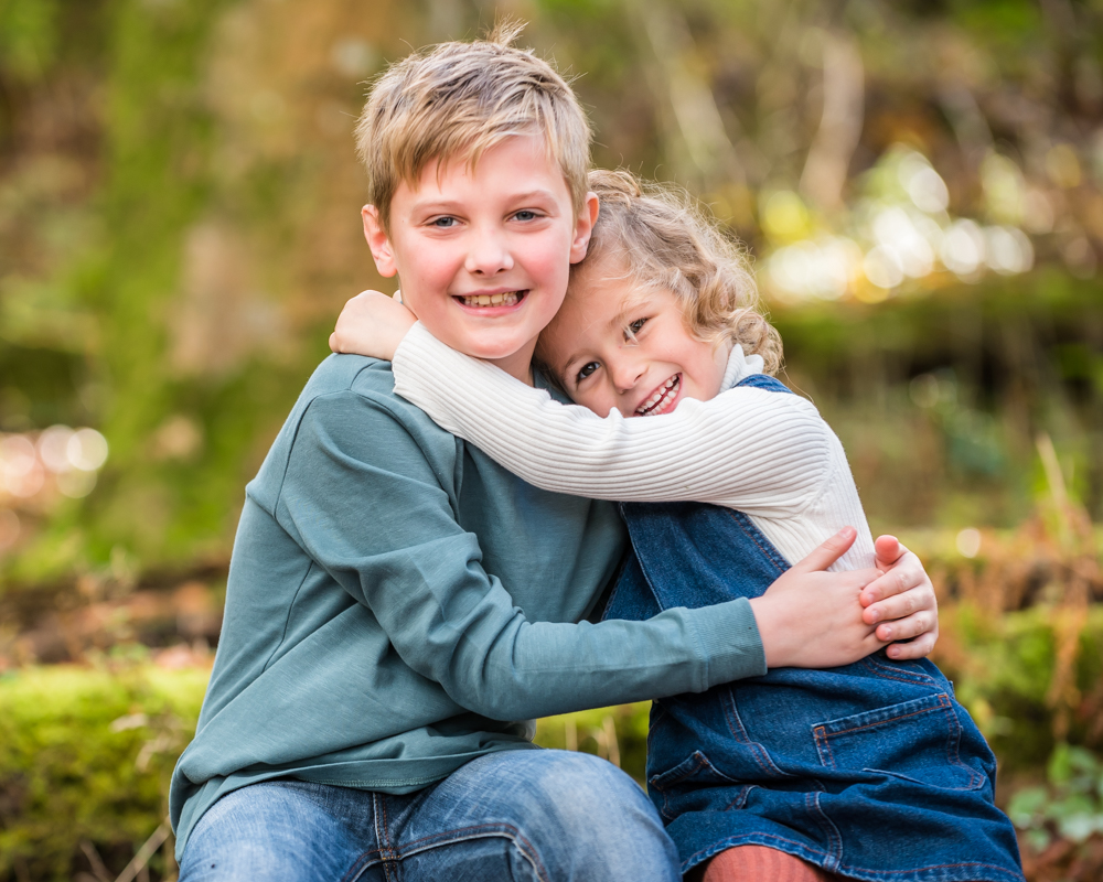Cuddles in the forest, Lake District family photographers