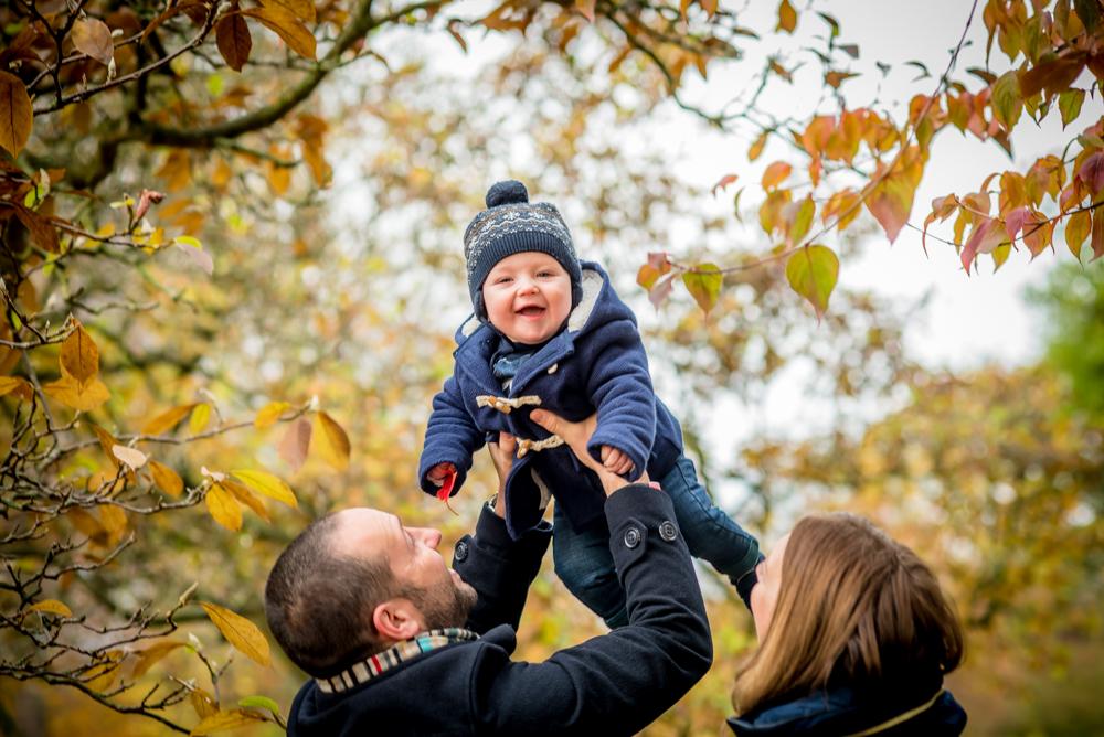 Flying baby Hugo, family portraits Carlisle