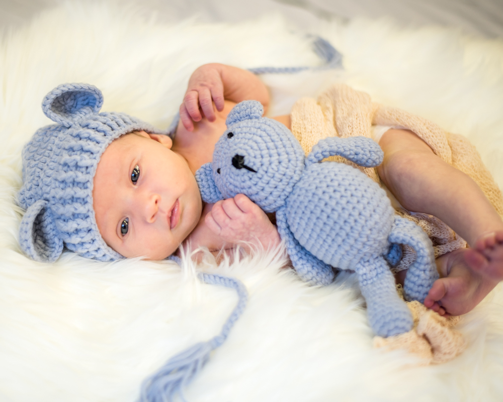 Baby in teddy hat with tiny teddy, baby photographs Carlisle