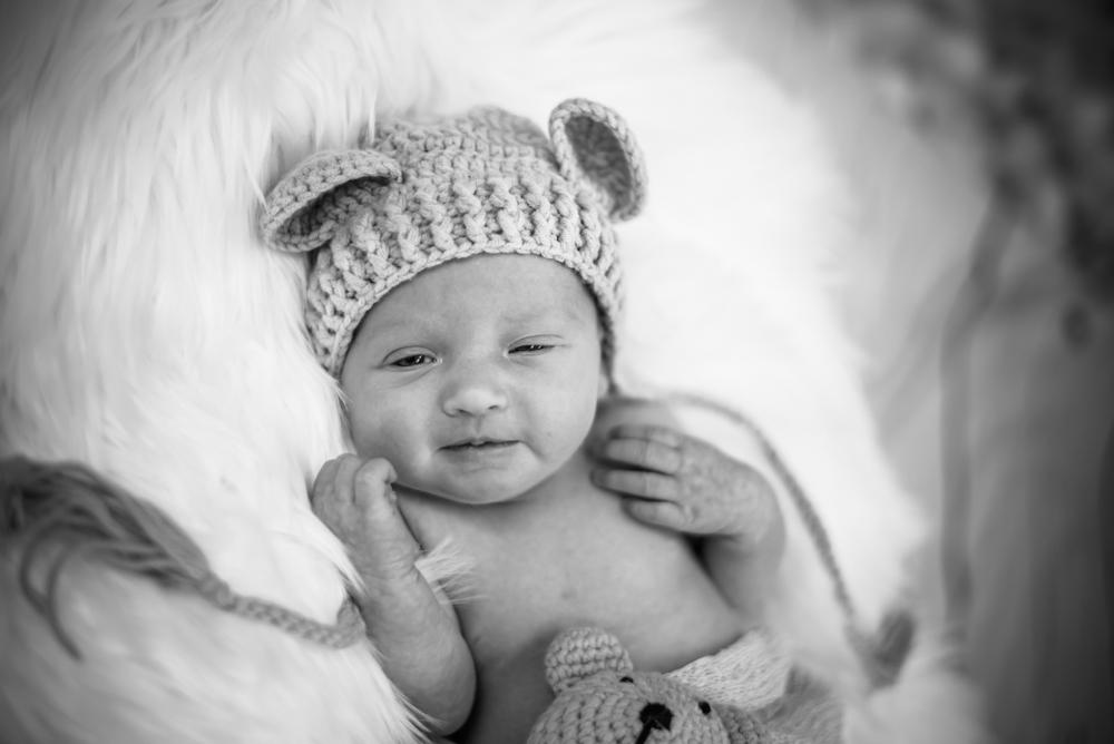 Black and white portrait of baby Brooke, newborn photographers Cumbria