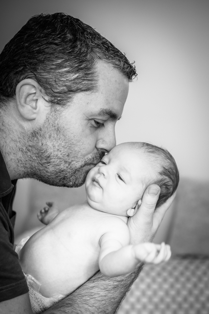 Kisses from Dad, baby photographer Cumbria