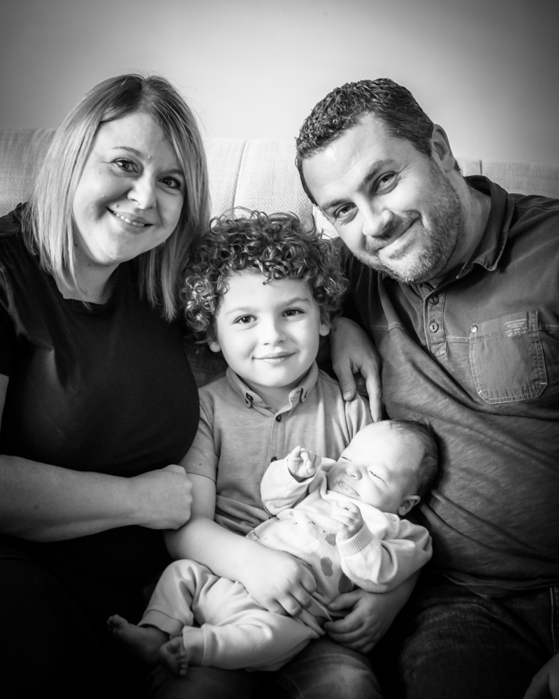 Family portrait with baby Noah, newborn photographers Sheffield